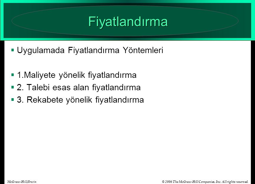 © 2006 The McGraw-Hill Companies, Inc. All rights reserved.McGraw-Hill/Irwin Fiyatlandırma  Uygulamada Fiyatlandırma Yöntemleri  1.Maliyete yönelik