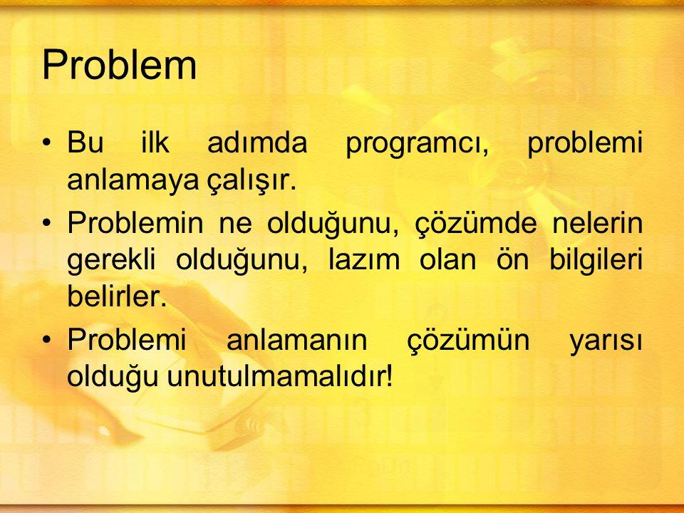 Problem •Bu ilk adımda programcı, problemi anlamaya çalışır.