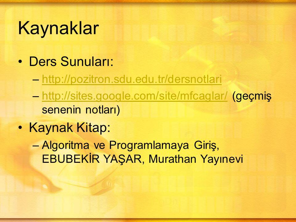 Kaynaklar •Ders Sunuları: –http://pozitron.sdu.edu.tr/dersnotlarihttp://pozitron.sdu.edu.tr/dersnotlari –http://sites.google.com/site/mfcaglar/ (geçmiş senenin notları)http://sites.google.com/site/mfcaglar/ •Kaynak Kitap: –Algoritma ve Programlamaya Giriş, EBUBEKİR YAŞAR, Murathan Yayınevi