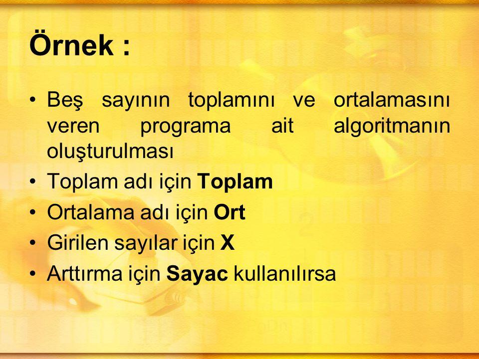 Örnek : •Beş sayının toplamını ve ortalamasını veren programa ait algoritmanın oluşturulması •Toplam adı için Toplam •Ortalama adı için Ort •Girilen sayılar için X •Arttırma için Sayac kullanılırsa