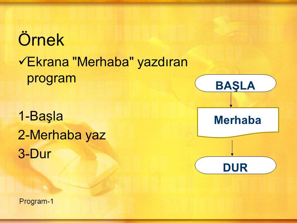 Örnek  Ekrana Merhaba yazdıran program 1-Başla 2-Merhaba yaz 3-Dur Program-1 BAŞLA DUR Merhaba