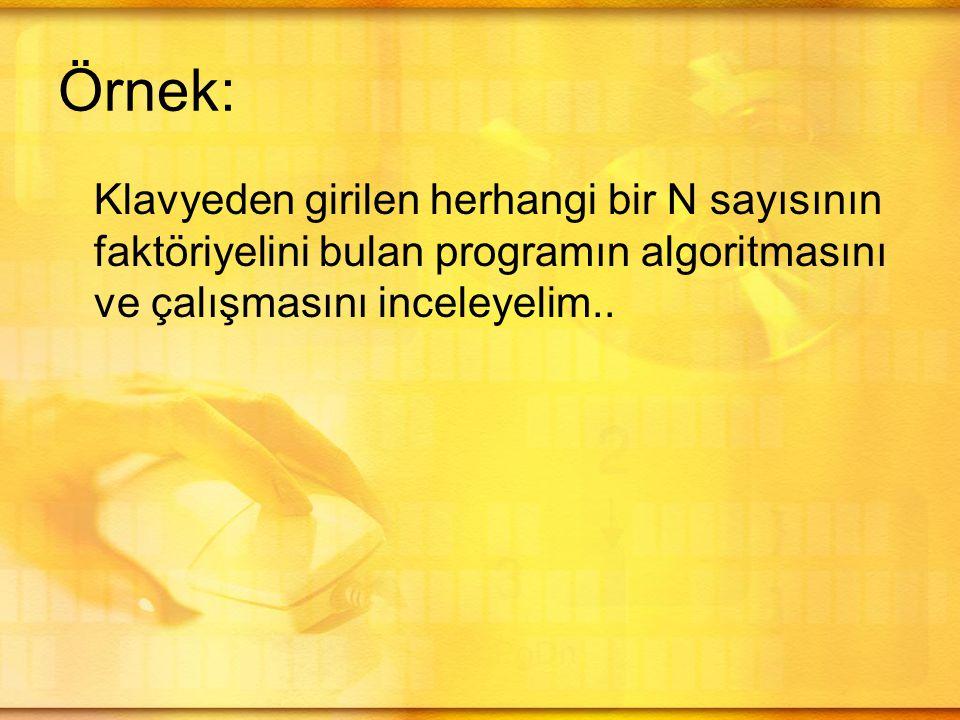 Örnek: Klavyeden girilen herhangi bir N sayısının faktöriyelini bulan programın algoritmasını ve çalışmasını inceleyelim..