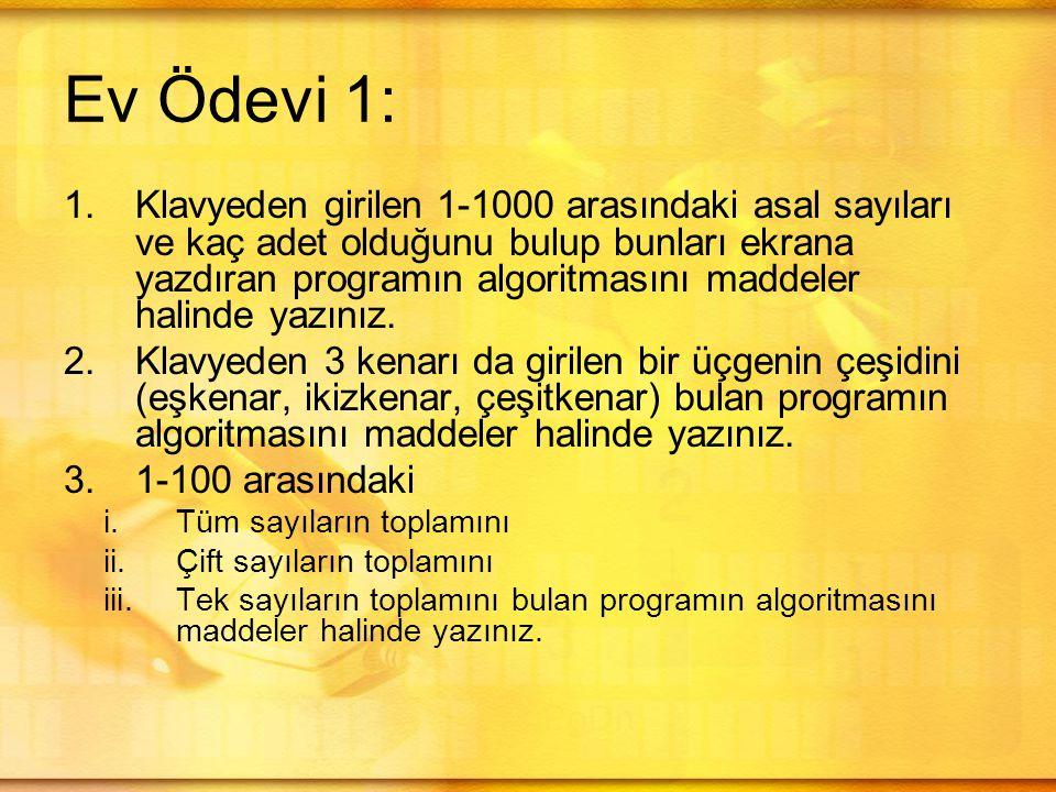 Ev Ödevi 1: 1.Klavyeden girilen 1-1000 arasındaki asal sayıları ve kaç adet olduğunu bulup bunları ekrana yazdıran programın algoritmasını maddeler halinde yazınız.