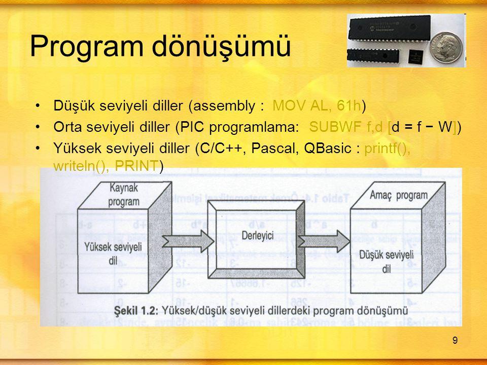 9 Program dönüşümü •Düşük seviyeli diller (assembly : MOV AL, 61h) •Orta seviyeli diller (PIC programlama: SUBWF f,d [d = f − W]) •Yüksek seviyeli diller (C/C++, Pascal, QBasic : printf(), writeln(), PRINT)