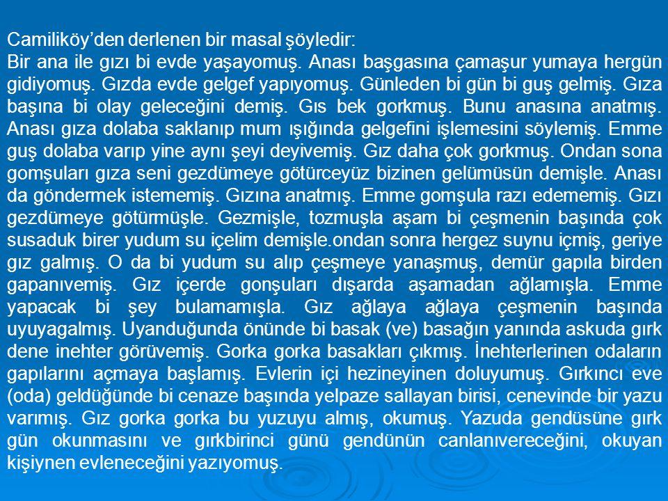 Camiliköy'den derlenen bir masal şöyledir: Bir ana ile gızı bi evde yaşayomuş. Anası başgasına çamaşur yumaya hergün gidiyomuş. Gızda evde gelgef yapı