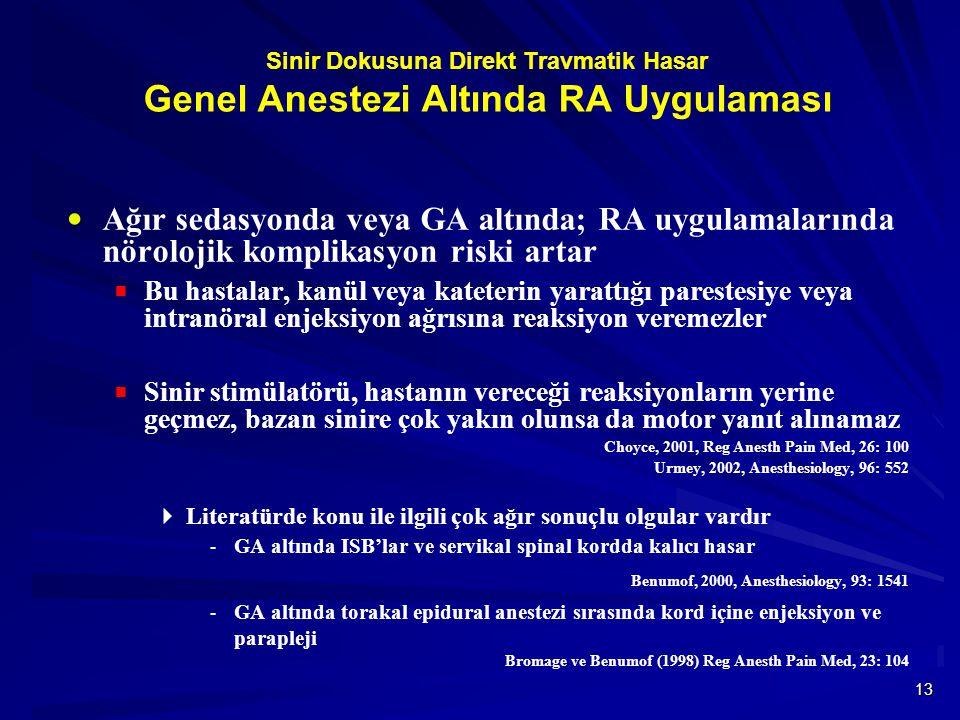 13 Sinir Dokusuna Direkt Travmatik Hasar Genel Anestezi Altında RA Uygulaması  Ağır sedasyonda veya GA altında; RA uygulamalarında nörolojik komplika