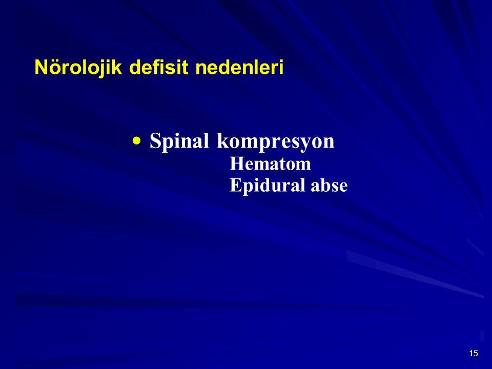 15  Spinal kompresyon Hematom Epidural abse Nörolojik defisit nedenleri