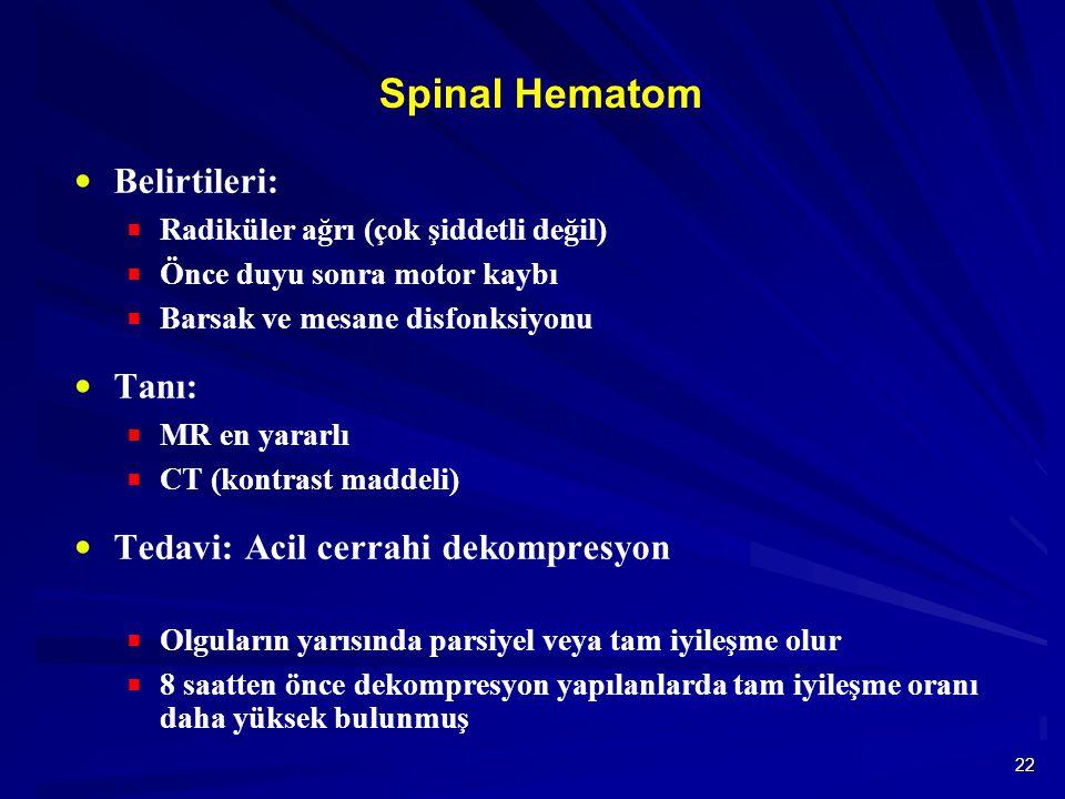 22 Spinal Hematom  Belirtileri:  Radiküler ağrı (çok şiddetli değil)  Önce duyu sonra motor kaybı  Barsak ve mesane disfonksiyonu  Tanı:  MR en yararlı  CT (kontrast maddeli)  Tedavi: Acil cerrahi dekompresyon  Olguların yarısında parsiyel veya tam iyileşme olur  8 saatten önce dekompresyon yapılanlarda tam iyileşme oranı daha yüksek bulunmuş