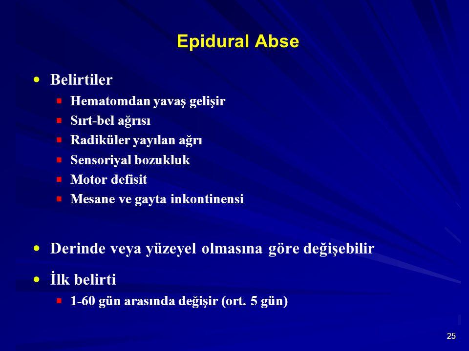 25 Epidural Abse  Belirtiler  Hematomdan yavaş gelişir  Sırt-bel ağrısı  Radiküler yayılan ağrı  Sensoriyal bozukluk  Motor defisit  Mesane ve