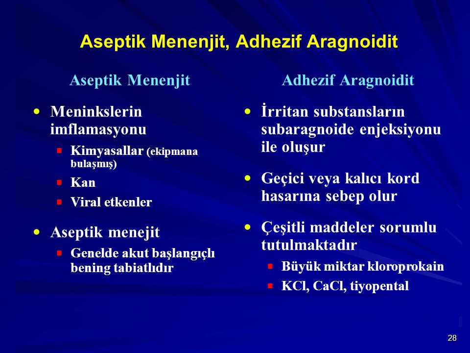 28 Aseptik Menenjit, Adhezif Aragnoidit Aseptik Menenjit  Meninkslerin imflamasyonu  Kimyasallar (ekipmana bulaşmış)  Kan  Viral etkenler  Aseptik menejit  Genelde akut başlangıçlı bening tabiatlıdır Adhezif Aragnoidit  İrritan substansların subaragnoide enjeksiyonu ile oluşur  Geçici veya kalıcı kord hasarına sebep olur  Çeşitli maddeler sorumlu tutulmaktadır  Büyük miktar kloroprokain  KCl, CaCl, tiyopental