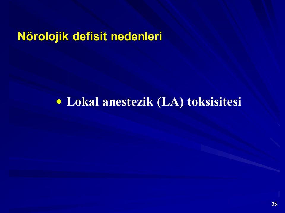 35 Nörolojik defisit nedenleri  Lokal anestezik (LA) toksisitesi