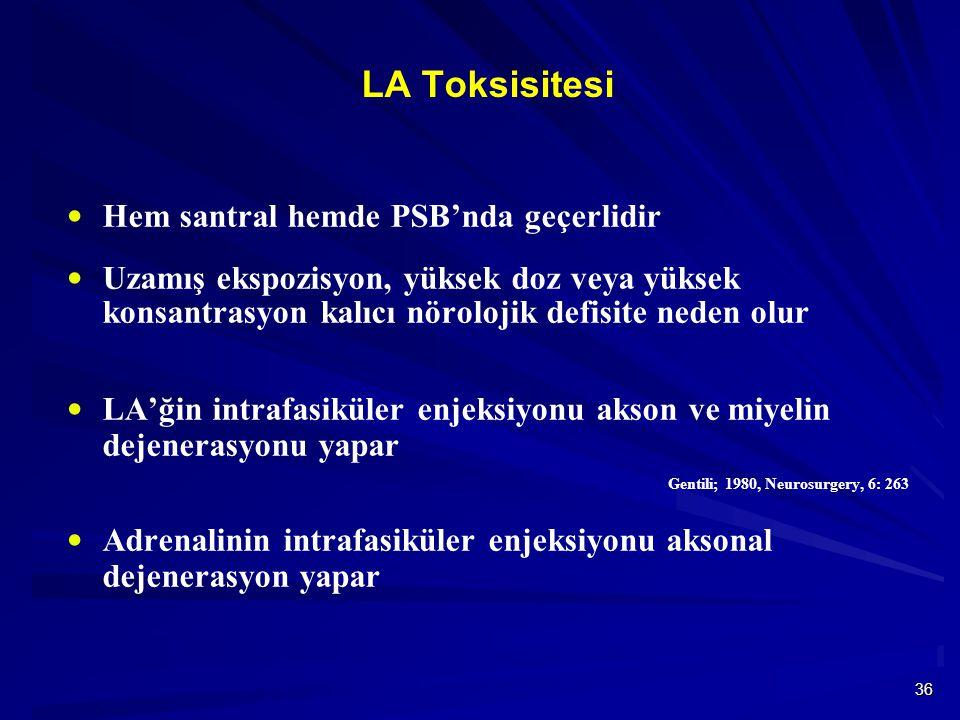 36 LA Toksisitesi  Hem santral hemde PSB'nda geçerlidir  Uzamış ekspozisyon, yüksek doz veya yüksek konsantrasyon kalıcı nörolojik defisite neden olur  LA'ğin intrafasiküler enjeksiyonu akson ve miyelin dejenerasyonu yapar Gentili; 1980, Neurosurgery, 6: 263  Adrenalinin intrafasiküler enjeksiyonu aksonal dejenerasyon yapar