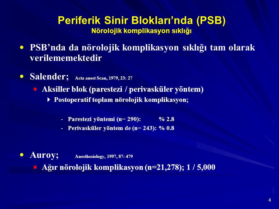 4 Periferik Sinir Blokları'nda (PSB) Nörolojik komplikasyon sıklığı  PSB'nda da nörolojik komplikasyon sıklığı tam olarak verilememektedir  Salender; Acta anest Scan, 1979, 23: 27  Aksiller blok (parestezi / perivasküler yöntem)  Postoperatif toplam nörolojik komplikasyon;  Parestezi yöntemi (n= 290): % 2.8  Perivasküler yöntem de (n= 243): % 0.8  Auroy; Anesthesiology, 1997, 87: 479  Ağır nörolojik komplikasyon (n=21,278); 1 / 5,000