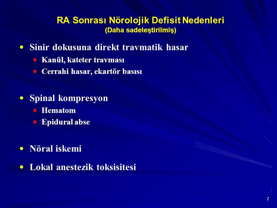 7 RA Sonrası Nörolojik Defisit Nedenleri (Daha sadeleştirilmiş)  Sinir dokusuna direkt travmatik hasar  Kanül, kateter travması  Cerrahi hasar, ekartör basısı  Spinal kompresyon  Hematom  Epidural abse  Nöral iskemi  Lokal anestezik toksisitesi