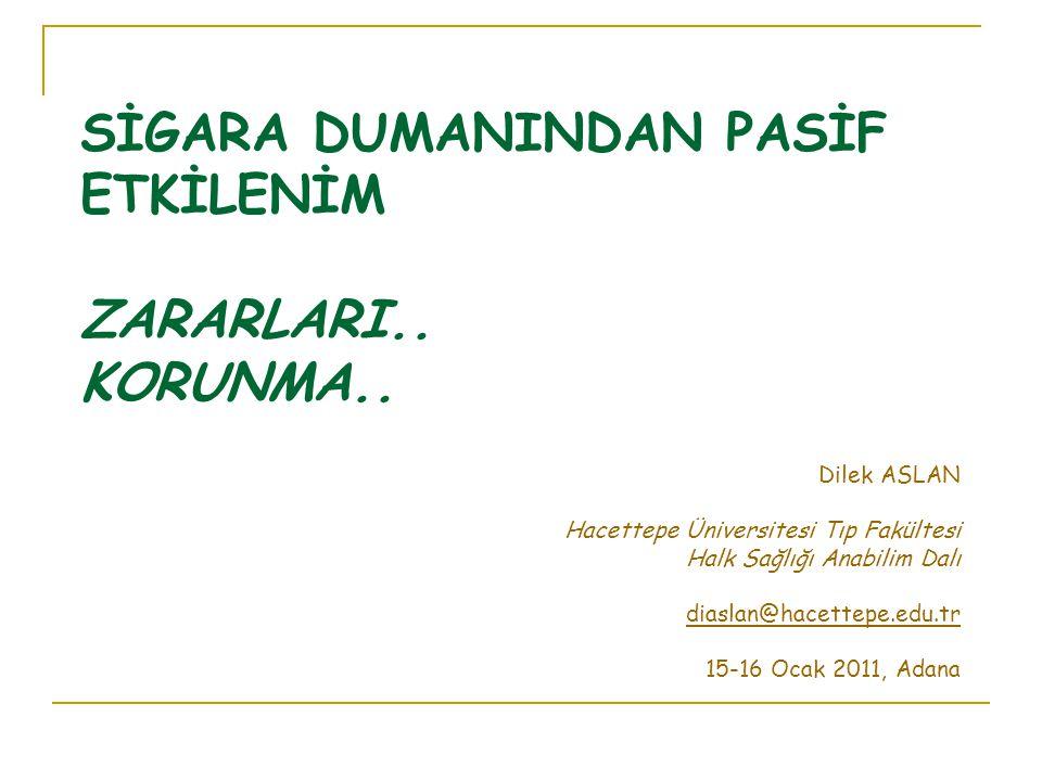 SİGARA DUMANINDAN PASİF ETKİLENİM ZARARLARI.. KORUNMA.. Dilek ASLAN Hacettepe Üniversitesi Tıp Fakültesi Halk Sağlığı Anabilim Dalı diaslan@hacettepe.