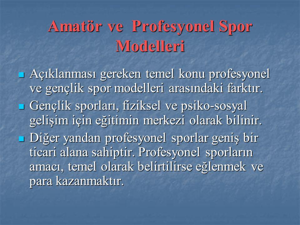 Amatör ve Profesyonel Spor Modelleri  Açıklanması gereken temel konu profesyonel ve gençlik spor modelleri arasındaki farktır.  Gençlik sporları, fi