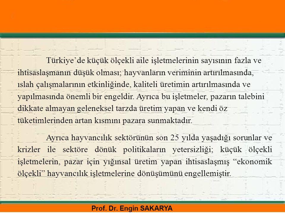 Prof. Dr. Engin SAKARYA Türkiye'de küçük ölçekli aile işletmelerinin sayısının fazla ve ihtisaslaşmanın düşük olması; hayvanların veriminin artırılmas