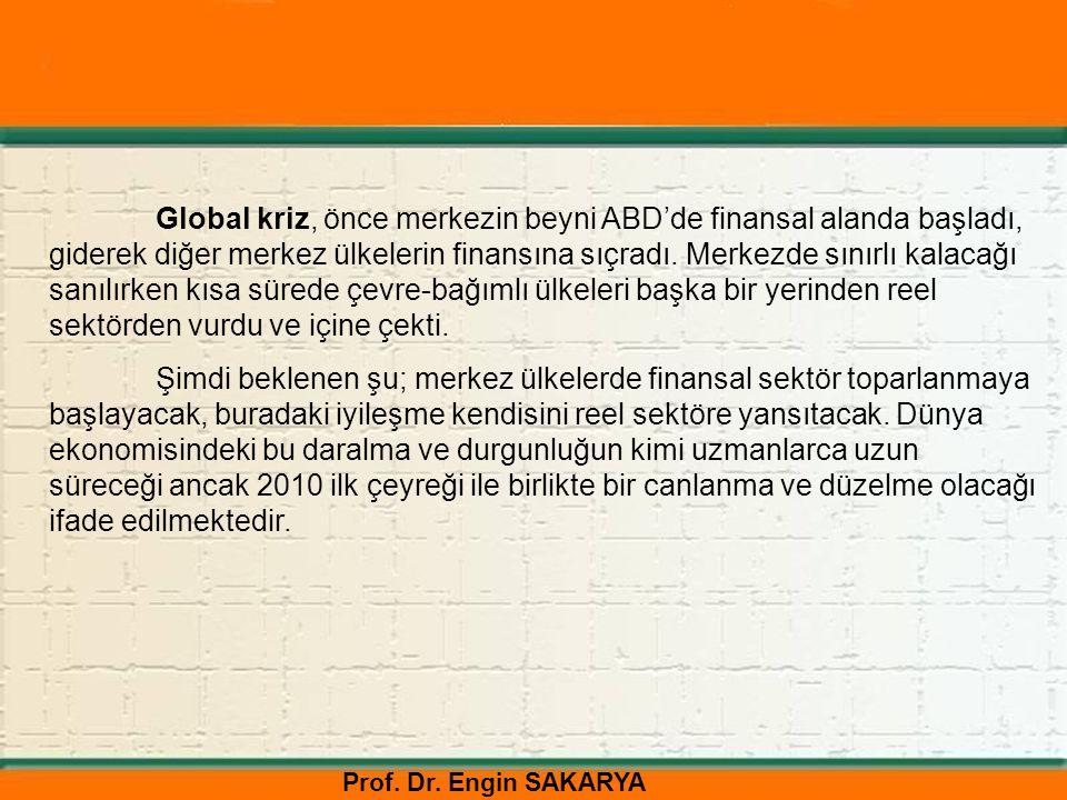 Prof. Dr. Engin SAKARYA Global kriz, önce merkezin beyni ABD'de finansal alanda başladı, giderek diğer merkez ülkelerin finansına sıçradı. Merkezde sı