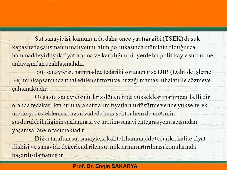 Prof. Dr. Engin SAKARYA Süt sanayicisi, kamunun da daha önce yaptığı gibi (TSEK) düşük kapasitede çalışmanın maliyetini, alım politikasında mümkün old
