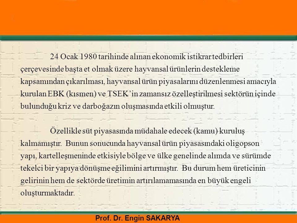 Prof. Dr. Engin SAKARYA 24 Ocak 1980 tarihinde alınan ekonomik istikrar tedbirleri çerçevesinde başta et olmak üzere hayvansal ürünlerin destekleme ka