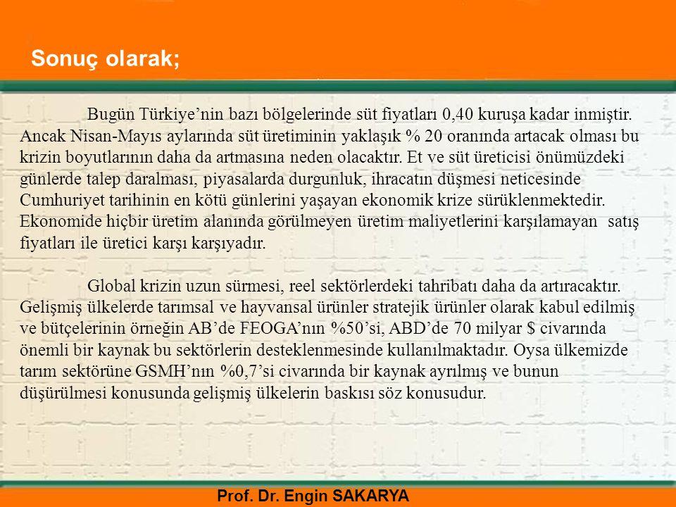 Prof. Dr. Engin SAKARYA Bugün Türkiye'nin bazı bölgelerinde süt fiyatları 0,40 kuruşa kadar inmiştir. Ancak Nisan-Mayıs aylarında süt üretiminin yakla