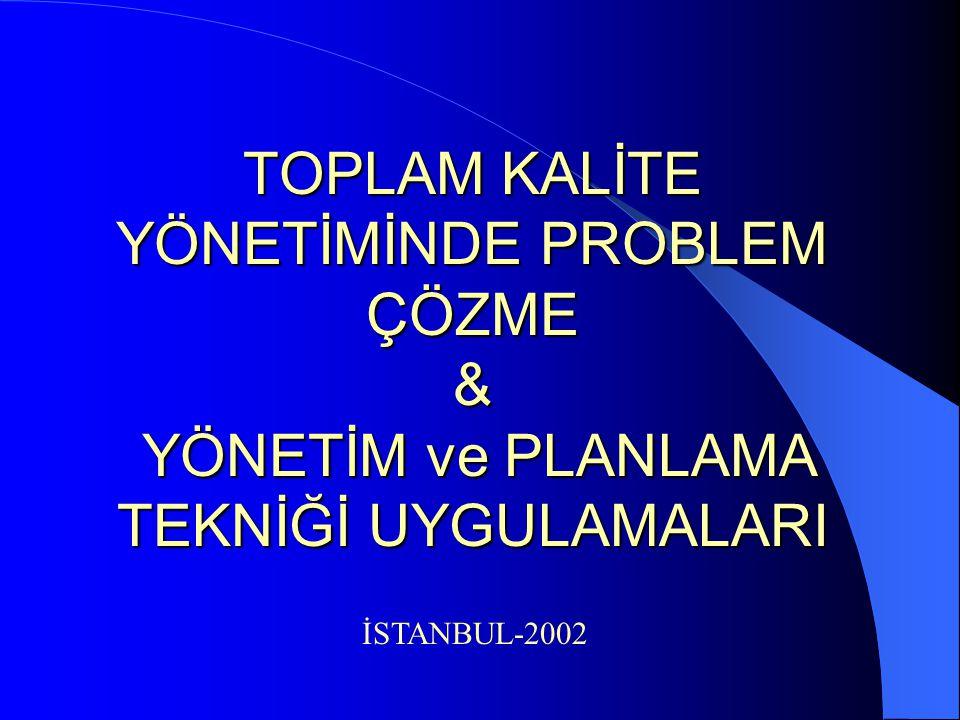 TOPLAM KALİTE YÖNETİMİNDE PROBLEM ÇÖZME & YÖNETİM ve PLANLAMA TEKNİĞİ UYGULAMALARI İSTANBUL-2002