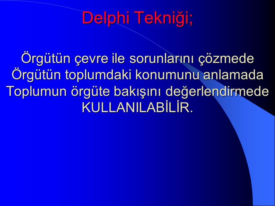 Delphi Tekniği; Örgütün çevre ile sorunlarını çözmede Örgütün toplumdaki konumunu anlamada Toplumun örgüte bakışını değerlendirmede KULLANILABİLİR.