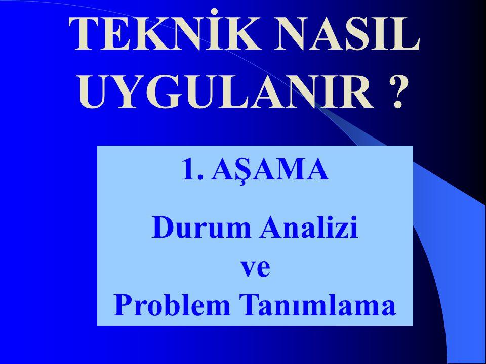 1. AŞAMA Durum Analizi ve Problem Tanımlama TEKNİK NASIL UYGULANIR ?