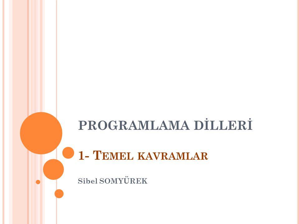 PROGRAMLAMA DİLLERİ 1- T EMEL KAVRAMLAR Sibel SOMYÜREK