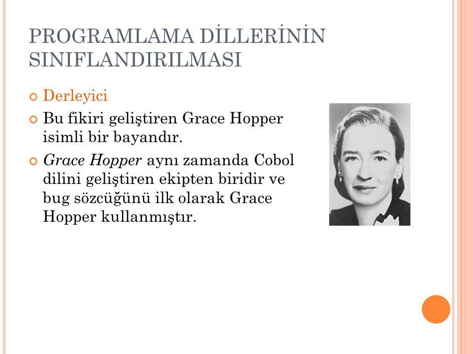 PROGRAMLAMA DİLLERİNİN SINIFLANDIRILMASI Derleyici Bu fikiri geliştiren Grace Hopper isimli bir bayandır. Grace Hopper aynı zamanda Cobol dilini geliş