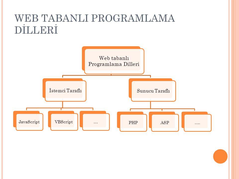 WEB TABANLI PROGRAMLAMA DİLLERİ Web tabanlı Programlama Dilleri Sunucu Taraflı ASPPHP…. İstemci Taraflı JavaScriptVBScript…