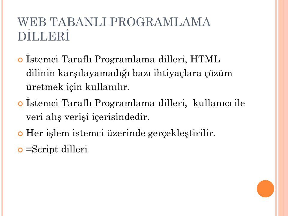WEB TABANLI PROGRAMLAMA DİLLERİ İstemci Taraflı Programlama dilleri, HTML dilinin karşılayamadığı bazı ihtiyaçlara çözüm üretmek için kullanılır. İste