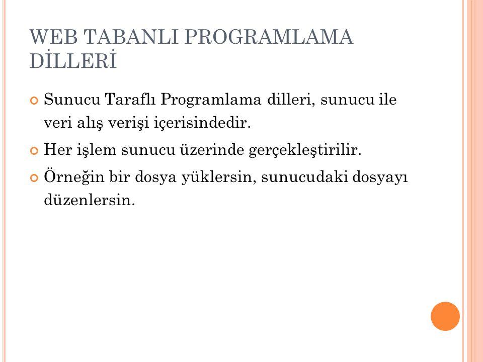 WEB TABANLI PROGRAMLAMA DİLLERİ Sunucu Taraflı Programlama dilleri, sunucu ile veri alış verişi içerisindedir. Her işlem sunucu üzerinde gerçekleştiri