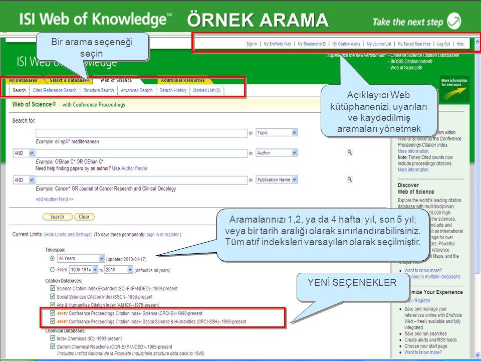 Web of Knowledge Ana Sayfa Kişisel profil oluşturmak için ve kişisel özelliklerin avantajları için kayıt Aramalarınızı 1,2, ya da 4 hafta; yıl, son 5