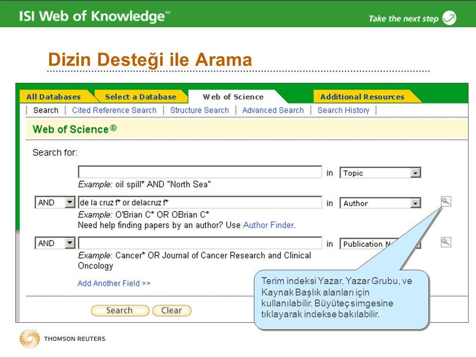 Dizin Desteği ile Arama Terim indeksi Yazar, Yazar Grubu, ve Kaynak Başlık alanları için kullanılabilir. Büyüteç simgesine tıklayarak indekse bakılabi