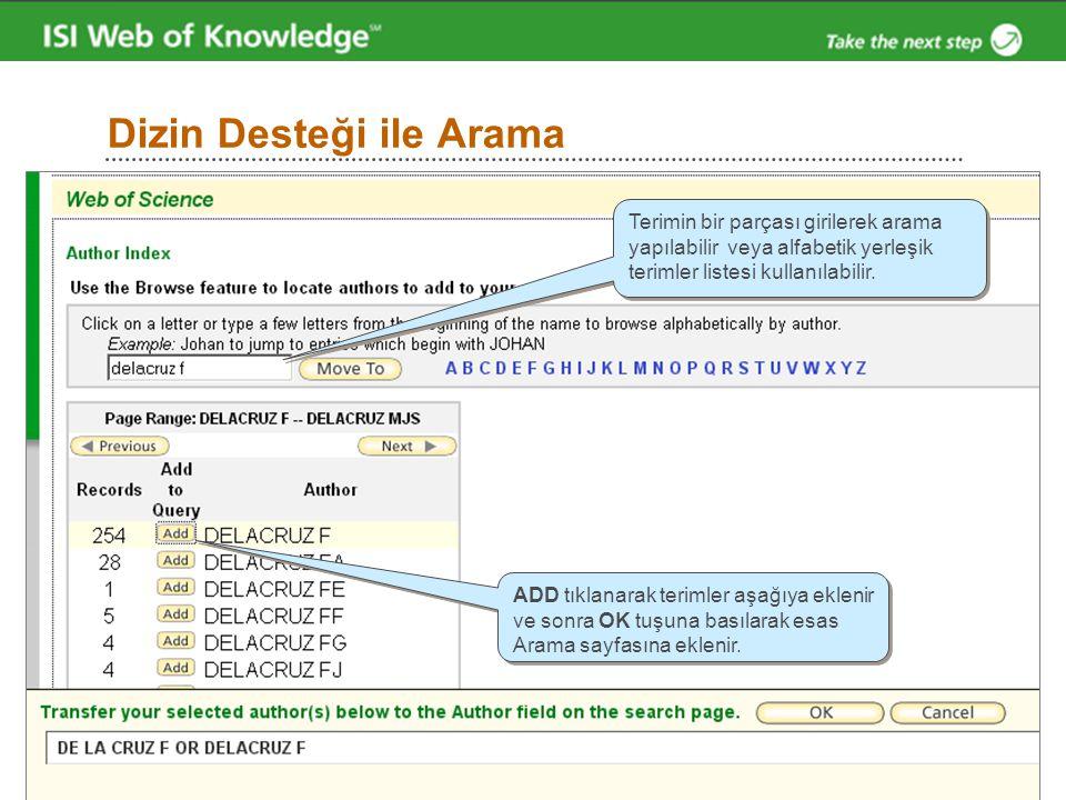 Dizin Desteği ile Arama Terimin bir parçası girilerek arama yapılabilir veya alfabetik yerleşik terimler listesi kullanılabilir. ADD tıklanarak teriml