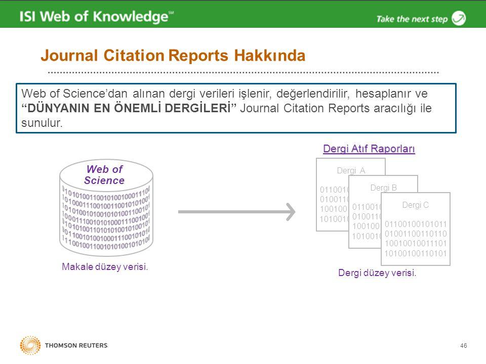 """Journal Citation Reports Hakkında 46 Web of Science'dan alınan dergi verileri işlenir, değerlendirilir, hesaplanır ve """"DÜNYANIN EN ÖNEMLİ DERGİLERİ"""" J"""