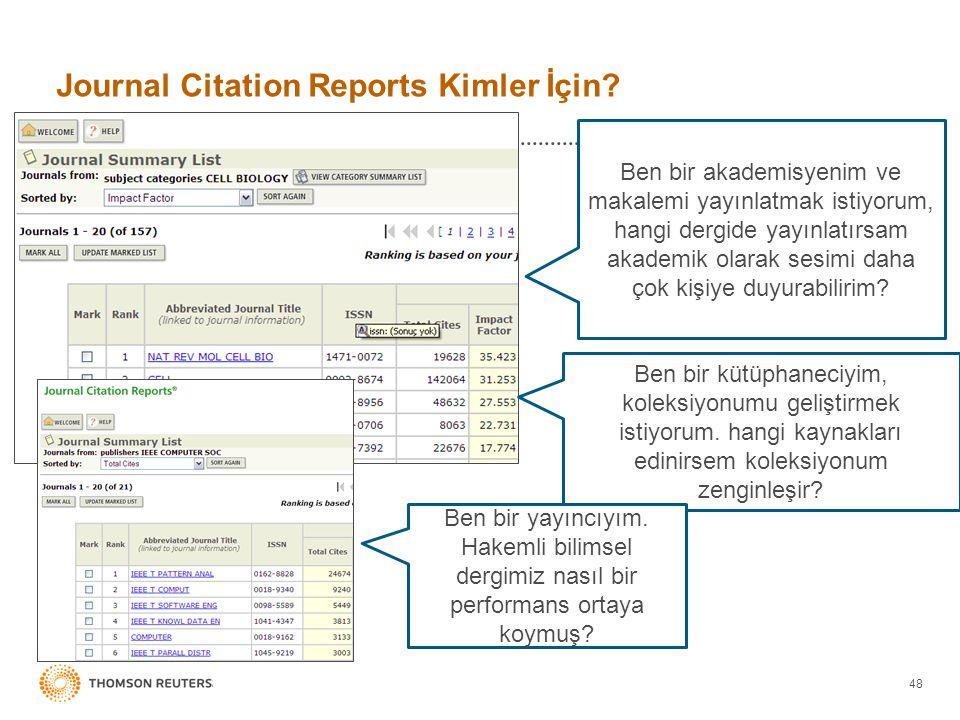 Journal Citation Reports Kimler İçin? 48 Ben bir akademisyenim ve makalemi yayınlatmak istiyorum, hangi dergide yayınlatırsam akademik olarak sesimi d