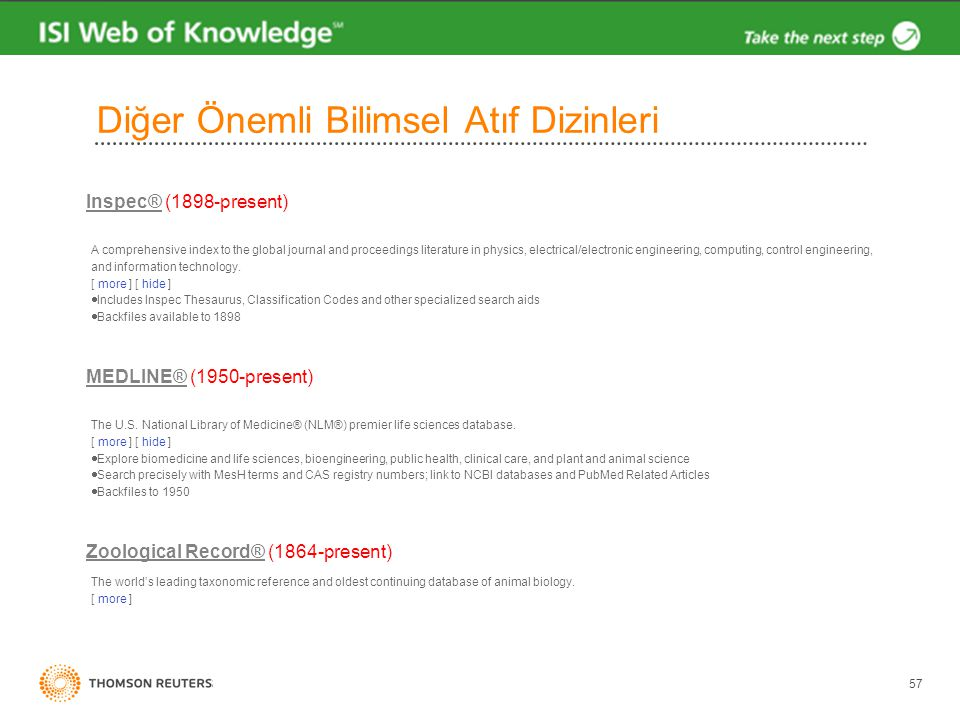 57 Diğer Önemli Bilimsel Atıf Dizinleri Inspec®Inspec® (1898-present) A comprehensive index to the global journal and proceedings literature in physics, electrical/electronic engineering, computing, control engineering, and information technology.