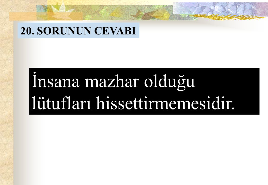 20. SORU Allah'ın büyüklüğü, kulun küçüklüğü zaviyesinden bir insana Allah'ın en büyük ihsanı nedir?