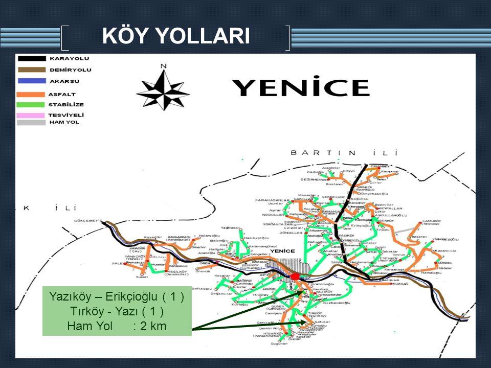 KÖY YOLLARI Yazıköy – Erikçioğlu ( 1 ) Tırköy - Yazı ( 1 ) Ham Yol : 2 km