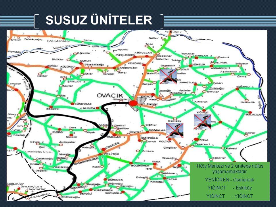 SUSUZ ÜNİTELER 1Köy Merkezi ve 2 ünitede nüfus yaşamamaktadır YENİÖREN - Osmancık YIĞINOT - Eskiköy YIĞINOT - YIĞINOT