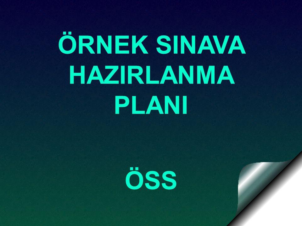 ÖRNEK SINAVA HAZIRLANMA PLANI ÖSS