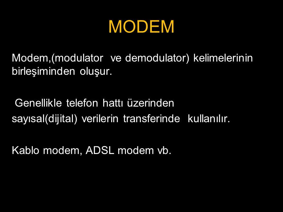 Modem,(modulator ve demodulator) kelimelerinin birleşiminden oluşur. Genellikle telefon hattı üzerinden sayısal(dijital) verilerin transferinde kullan