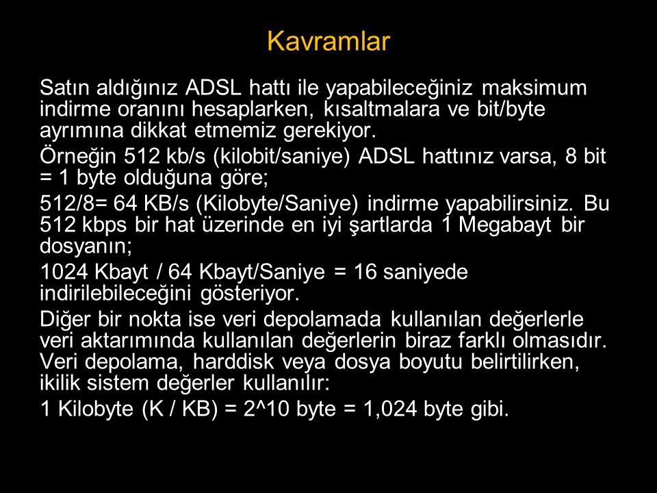 Kavramlar Satın aldığınız ADSL hattı ile yapabileceğiniz maksimum indirme oranını hesaplarken, kısaltmalara ve bit/byte ayrımına dikkat etmemiz gereki