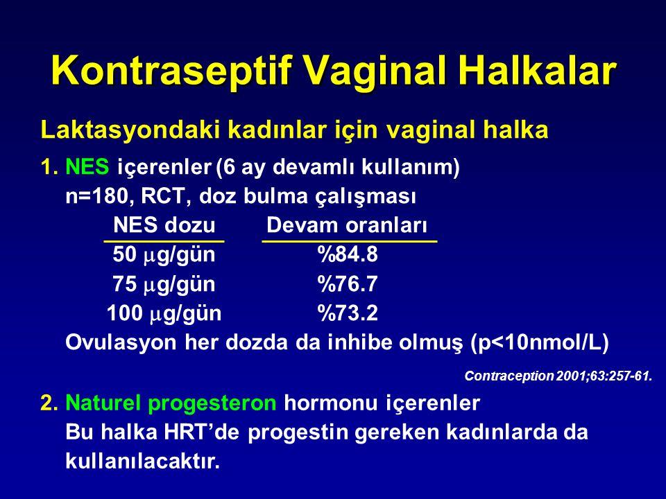 Kontraseptif Vaginal Halkalar Laktasyondaki kadınlar için vaginal halka 1.NES içerenler (6 ay devamlı kullanım) n=180, RCT, doz bulma çalışması NES do