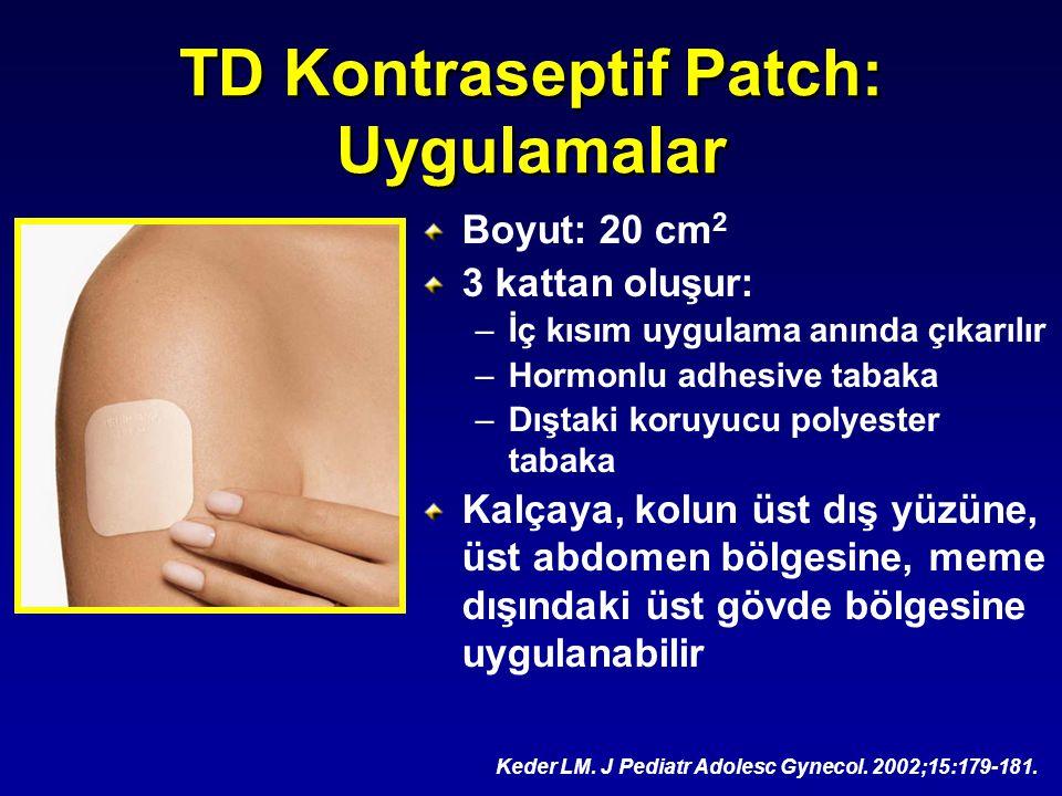TD Kontraseptif Patch: Uygulamalar Boyut: 20 cm 2 3 kattan oluşur: –İç kısım uygulama anında çıkarılır –Hormonlu adhesive tabaka –Dıştaki koruyucu pol