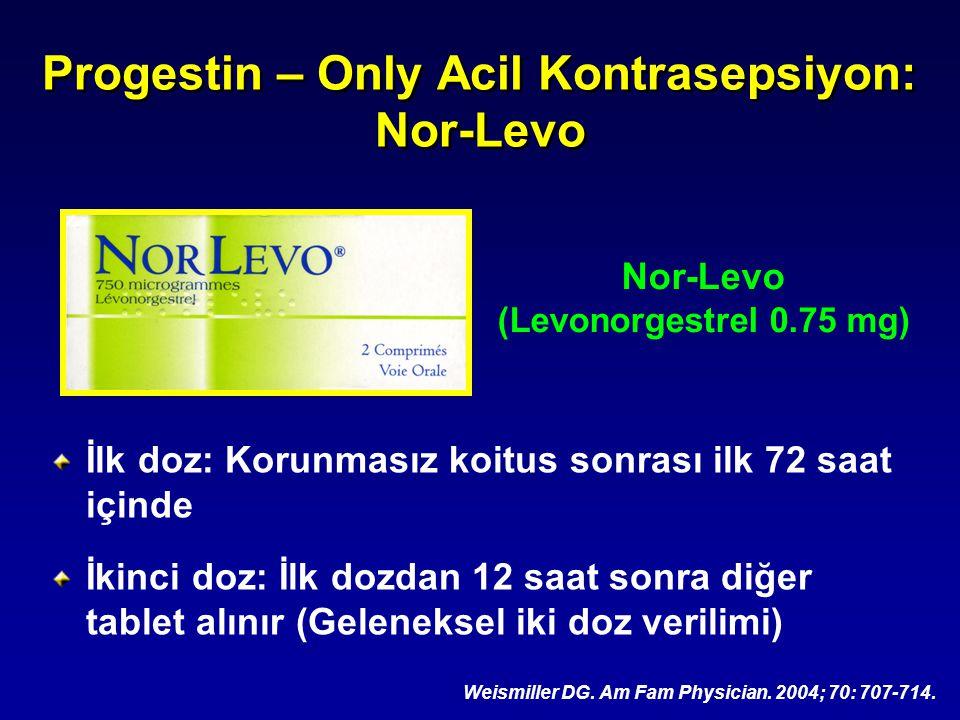 Progestin – Only Acil Kontrasepsiyon: Nor-Levo İlk doz: Korunmasız koitus sonrası ilk 72 saat içinde İkinci doz: İlk dozdan 12 saat sonra diğer tablet