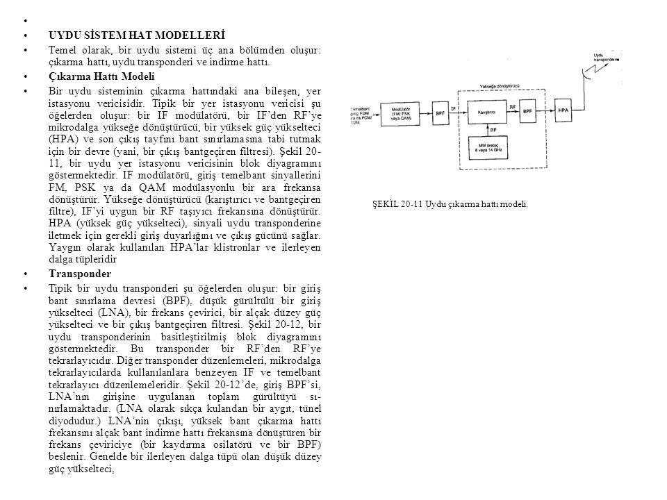 • •UYDU SİSTEM HAT MODELLERİ •Temel olarak, bir uydu sistemi üç ana bölümden oluşur: çıkarma hattı, uydu transponderi ve indirme hattı.