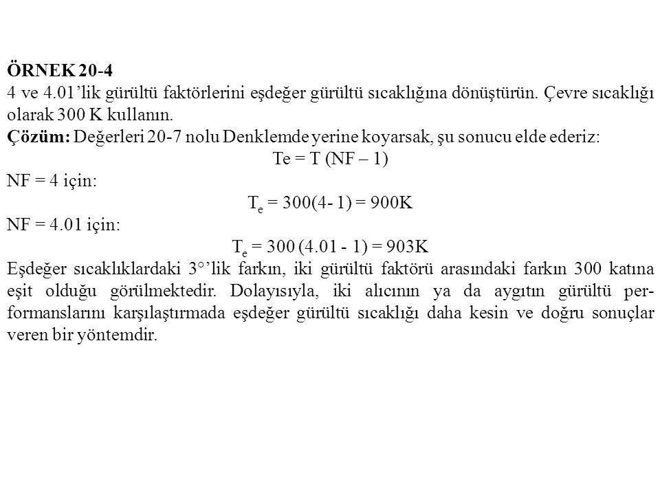 ÖRNEK 20-4 4 ve 4.01'lik gürültü faktörlerini eşdeğer gürültü sıcaklığına dönüştürün.